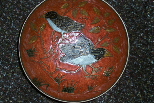 "VINTAGE ENAMELED BRASS BOWL INDIA 6 34"" W 2"" H BIRDS ORANGERUST"