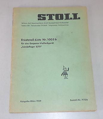 Motors Parts Catalog Stoll Gespann-vielfachgerät Landpfleger 2/52 Stand 03/1959 Great Varieties Industrial