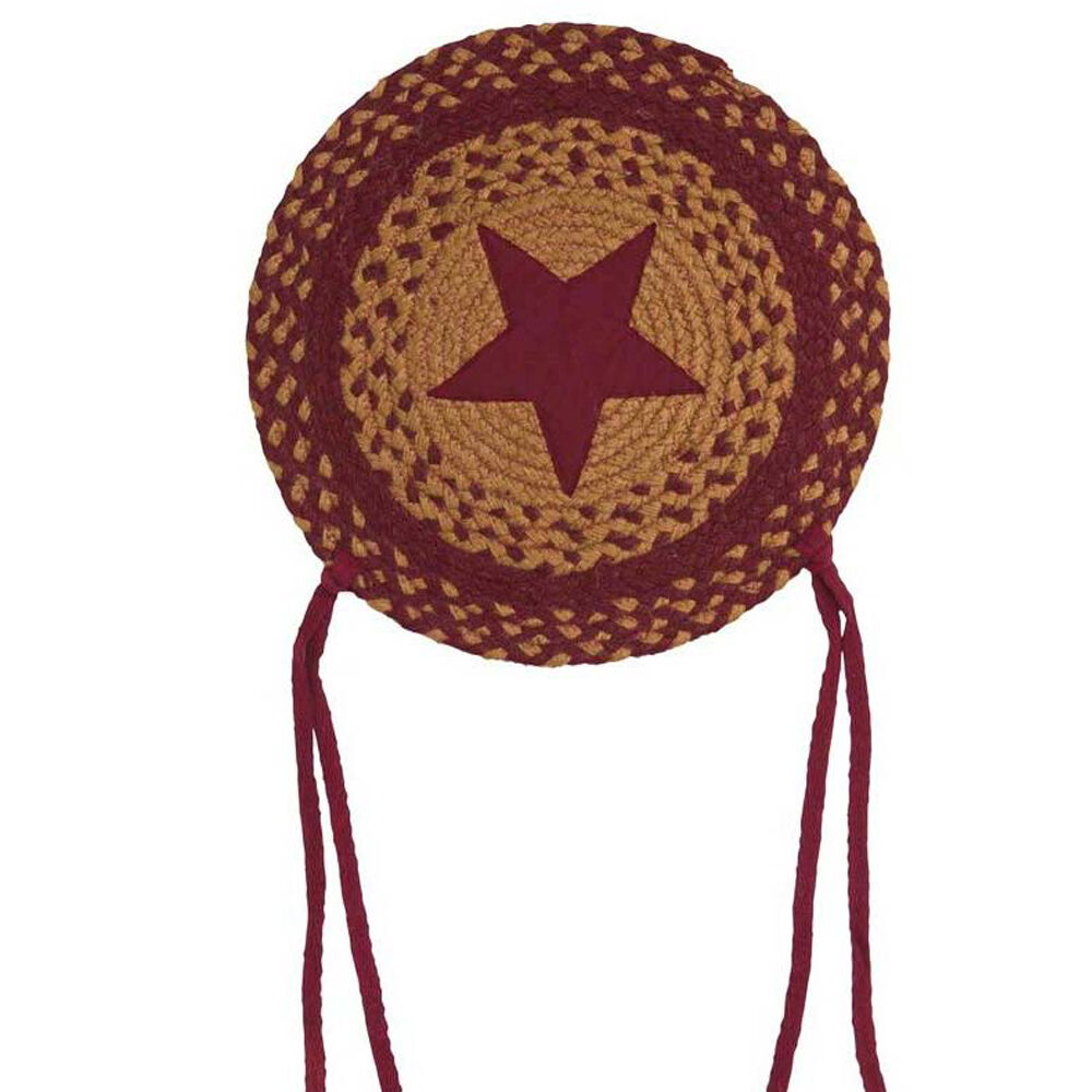 """Braided Rug Pad: IHF Home Decor Star Wine 15"""" Braided Chair Cover Seat Pads"""