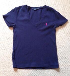 Ralph Lauren polo Navy Blue Short Sleeve V-Neck T-Shirt Women's ...