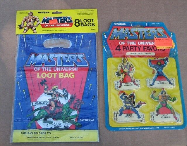 MASTERS OF THE UNIVERSE PARTY FAVORS - Vintage - NAME TAGS & LOOT BAGS  SEALED