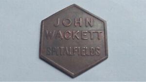 Spitalfields London MARKET TOKEN John Wackett 40 shillings. Or two pounds, £2