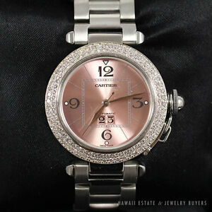 Image is loading CARTIER-PASHA-PINK-DIAL-STAINLESS-STEEL-AUTOMATIC-2475- 6ab20676e