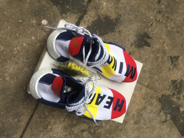 timeless design aee39 8626e PHARRELL WILLIAMS BBC ADIDAS HU NMD HEART MIND WHITE NAVY RED SIZE 8