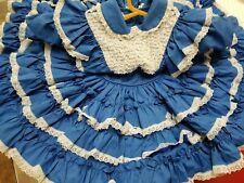 BEAUTIFUL vintage Girl Dress Size 2t Mary Louise Blue Ruffle Lace