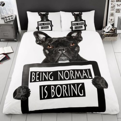 FRENCH BULLDOG DOUBLE DUVET COVER SET BEING NORMAL IS BORING BEDDING NEW
