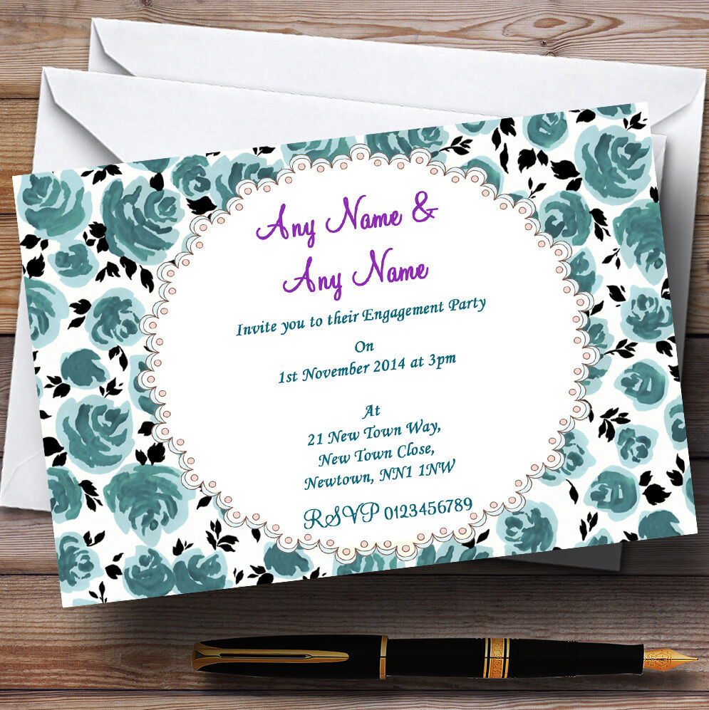 Turquoise Floral Vintage Engagement Party Personalised Invitations