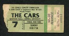 Original 1979 The Cars Concert Ticket Stub Barton Hall Cornell U. Candy O Tour