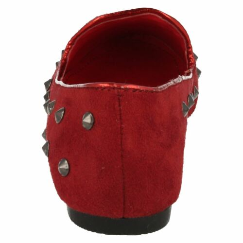 R36A Cutie H2R246 Girls Slip On Red Faux Suede Studded Loafer Flat Shoes