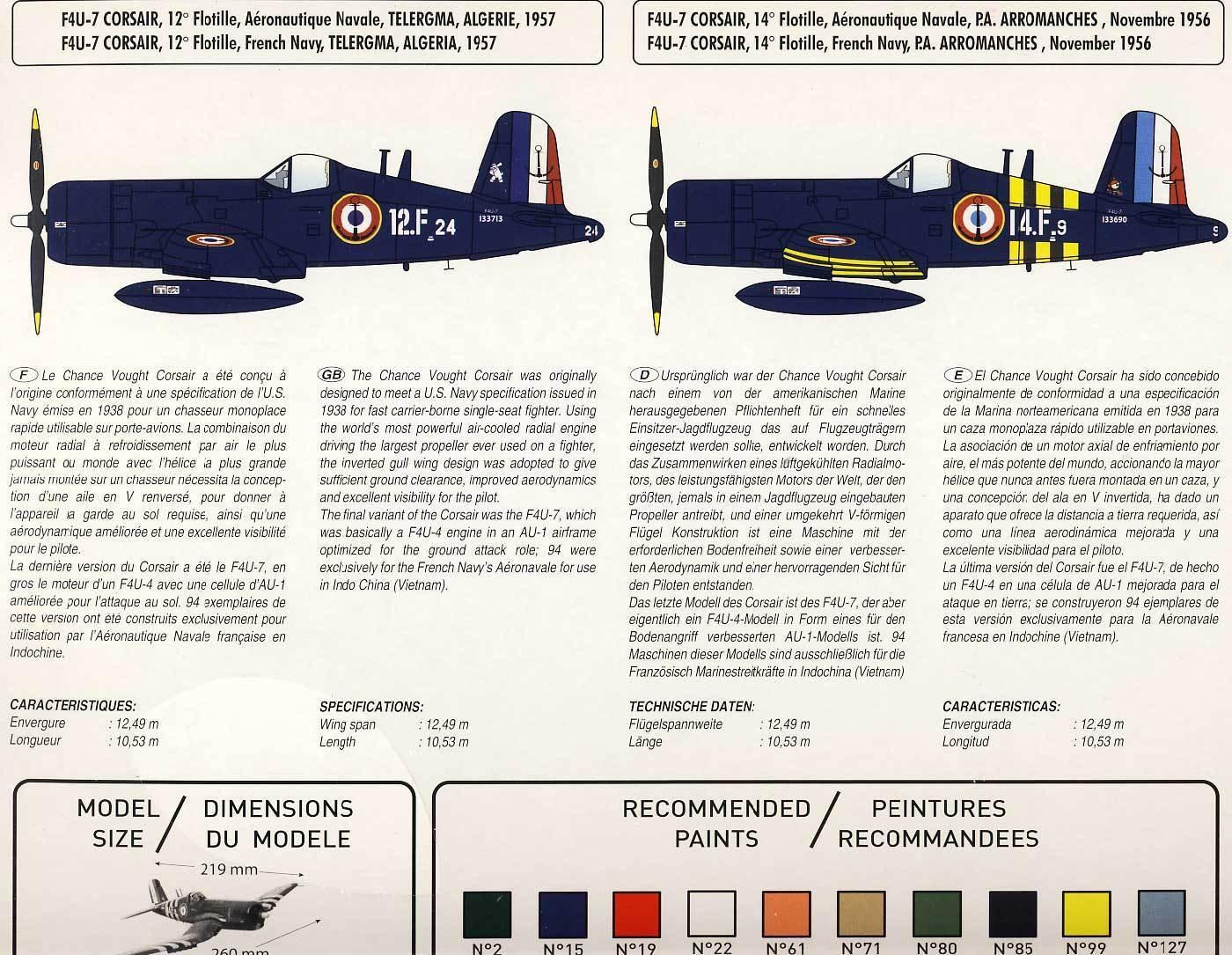 Heller Vought F4U-7 Corsair France 1956 1956 1956 Francés Naval 1 48 c39e73
