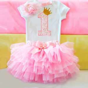 fdd263f472ce Cute Baby 1st Birthday Girl Clothes Tutu Dress Skirt Infant Outfits ...