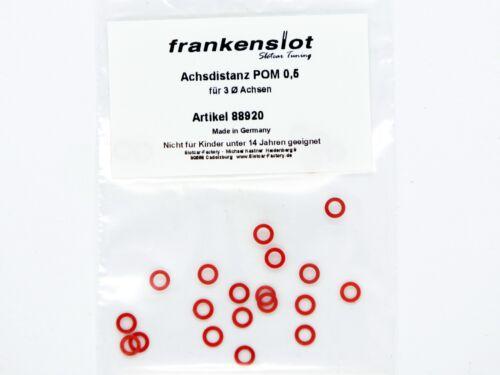 88920 25 Stück Achsdistanz Frankenslot POM 0,5 mm rot