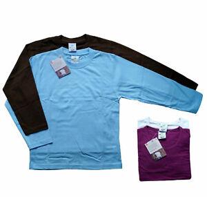 1er/2er/3er Pack Kinder Mädchen Jungen Langarmshirt Sweat Shirt Bio-Baumwolle