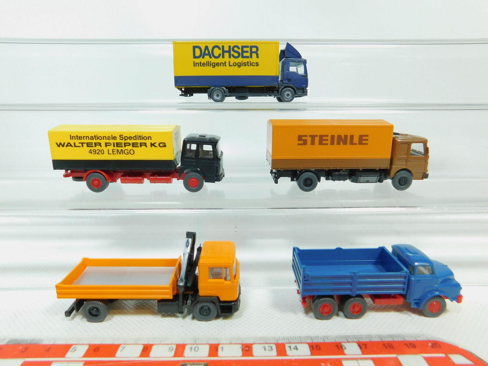 Bn90-0, 5  5x WIKING h0 1 87 CAMION MAN  Dachser  Steinle  Transporteur Pieper etc, Neuw