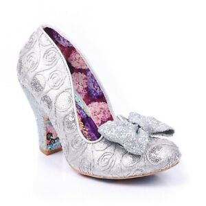 NEW-IRREGULAR-CHOICE-NICK-OF-TIME-SILVER-AQ-GLITTER-BOW-FLORAL-PRINT