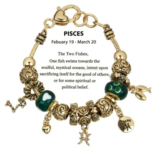 Zodiac Bracelet Murano /& Gold Metallic Beads 12 Choices Gift Box Included