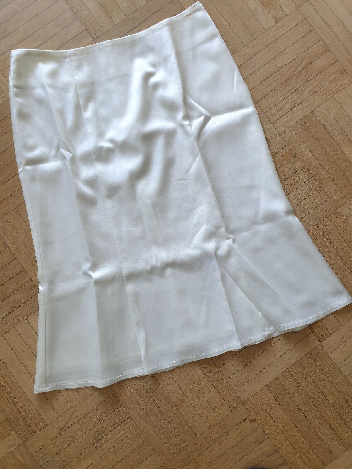 NEW Designer Nicowa Luxury Skirt White Satin Business Festive Size 34 XS