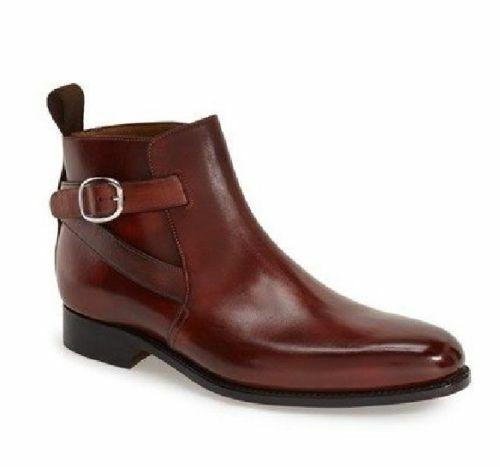 botas para hombre hecho a mano de cuero Marrón Pantalones Ropa Formal Vestido Informal Zapatos Tobillo
