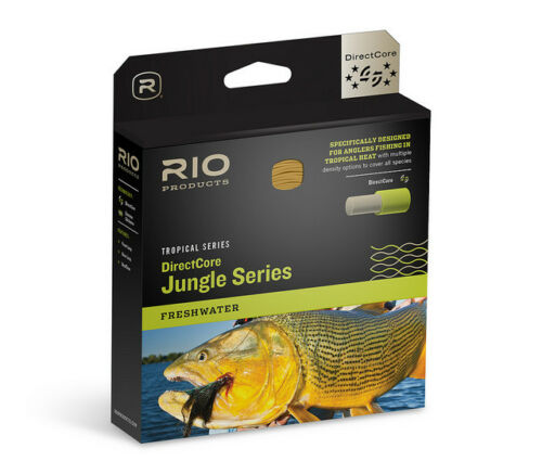 RIO DIRECTCORE JUNGLE SERIES WF8F//I #8 WEIGHT FLY LINE IN CLEAR//BLUE//PALE ORANGE