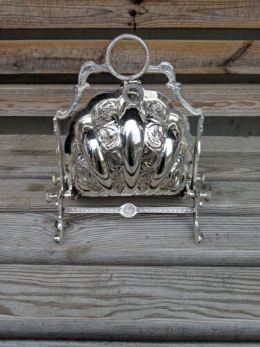 Victorian Style Shell Silver Plate Biscuit Box Large