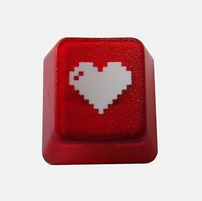 Translucent Red 8-bit Heart Doubleshot Cherry MX Keycaps / Key cap