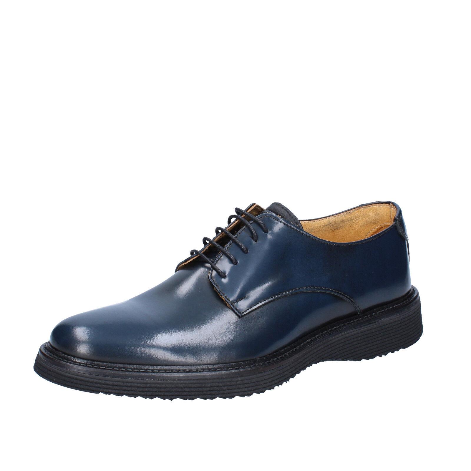 Herren schuhe SALVO BARONE 43 EU elegante Blau Leder BZ146-E