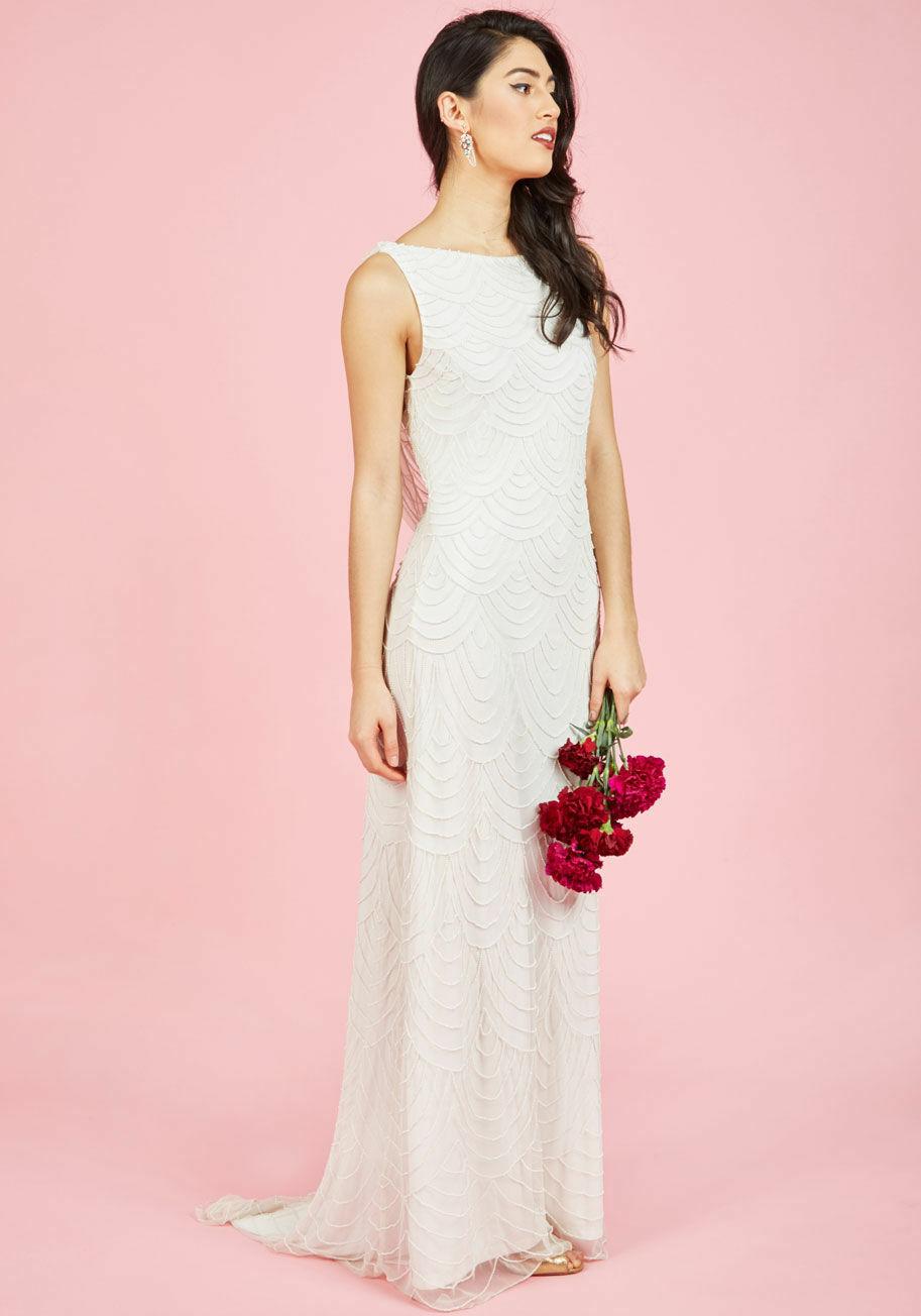 ModCloth Graceful Grandeur Maxi Dress XXL Beaded Weiß Off Retro Wed  NEW