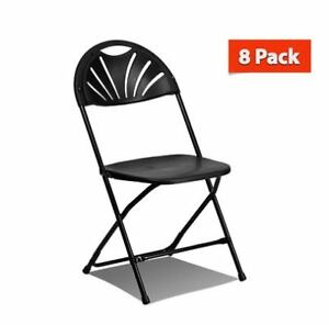 Marvelous Details About 8 Commercial Plastic Folding Chairs Black Fan Back Seat Party Event Office Chair Creativecarmelina Interior Chair Design Creativecarmelinacom