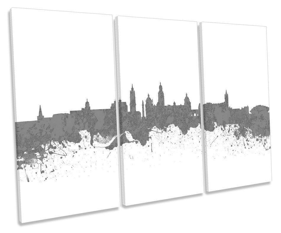 Glasgow City Skyline moderno B&W TREBLE TELA Wall Art Box incorniciato stampa