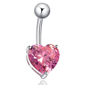 Hot New strass cœur Dangle Clear Nombril Bar Body Belly Ring bijoux piercing