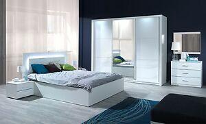 Komplett Schlafzimmer Siena Hochglanz Weiß mit LED Bett