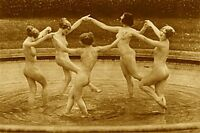 DECO VINTAGE NAKED NUDE WOMEN FOUNTAIN DANCERS NATURIST GIRLFRIEND BREASTS PHOTO