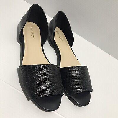 Nine West Size 9 Sandal Flats Black Open Toe NW7 Slip On | eBay