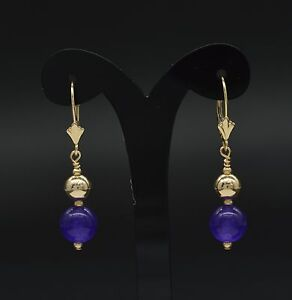 14k solid y//gold natural Amethyst and freshwater White Pearl earrings leverback