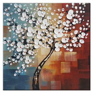 Details About Hand Paint Canvas Oil Paintings Home Decor Wall Art Abstract Flower Tree Framed