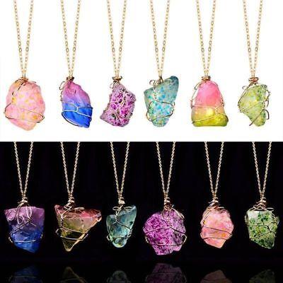 RAINBOW stone natural Crystal Chakra Rock chaîne Quartz collier pendentif bijoux