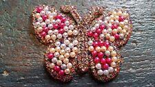 Patch Schmetterling bunt mit Strasssteinen und Perlen Bügelbild Applikation