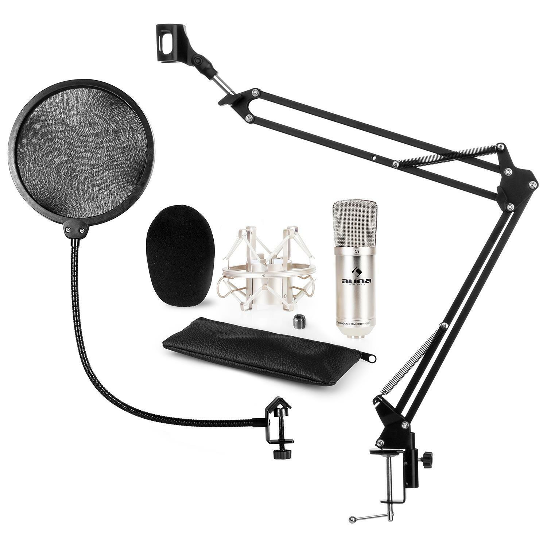 Auna CM001S Mikrofon-Set V4 Kondensatormikrofon Mikrofonarm POP-Schutz silber