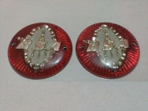 NEW PAIR BSA ROUND PETROL TANK PLASTIC BADGES RED/SILVER ...