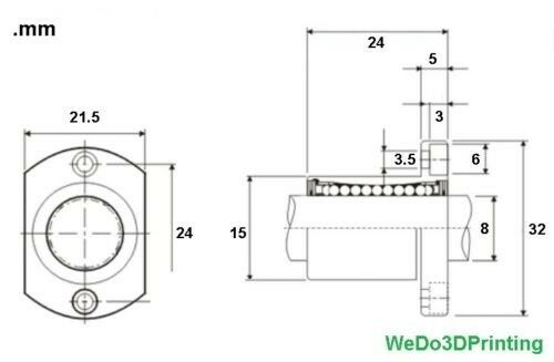 LM8UU with Bracket H Flang 8mm shaft LMH8UU Linear Bearing 3D Printer CNC