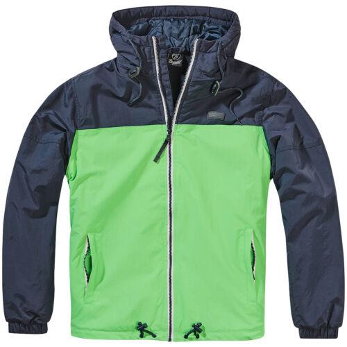 Brandit Harris Windbreaker Mens Hooded Weather Proof Jacket Indigo//Spring Green