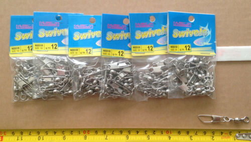 72 pcs of Nickel Barrel Swivels w//Safety Snap Shisize #2//0--14 from $8.99 F//S