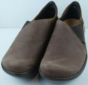 NAOT-Women-039-s-Brown-Leather-Elastic-Wedge-Clog-Comfort-Shoes-Size-EU-39-US-8