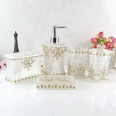 5pcs Beautiful Floral Butterfly Resin Bath Accessories Soap Dispenser Set Gift