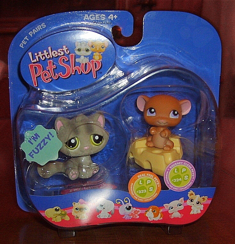Littlest Pet Shop Pet Pairs Cat Kitten & & & Mouse Release, Retired 72471c