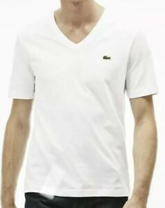 Details about lacoste live v-neck White t shirt mens size 6 XL BUT SLIM FIT LIKE LARGE