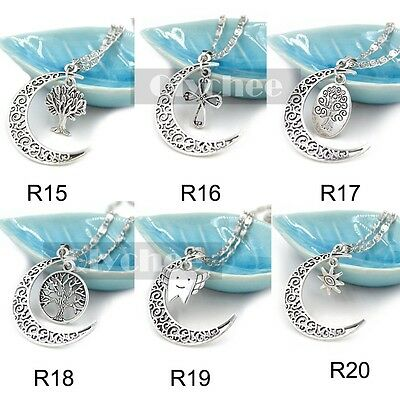 Silver Metal Vintage Crescent Moon Necklace Pendent  2 Chamr Women Cheap Jewelry