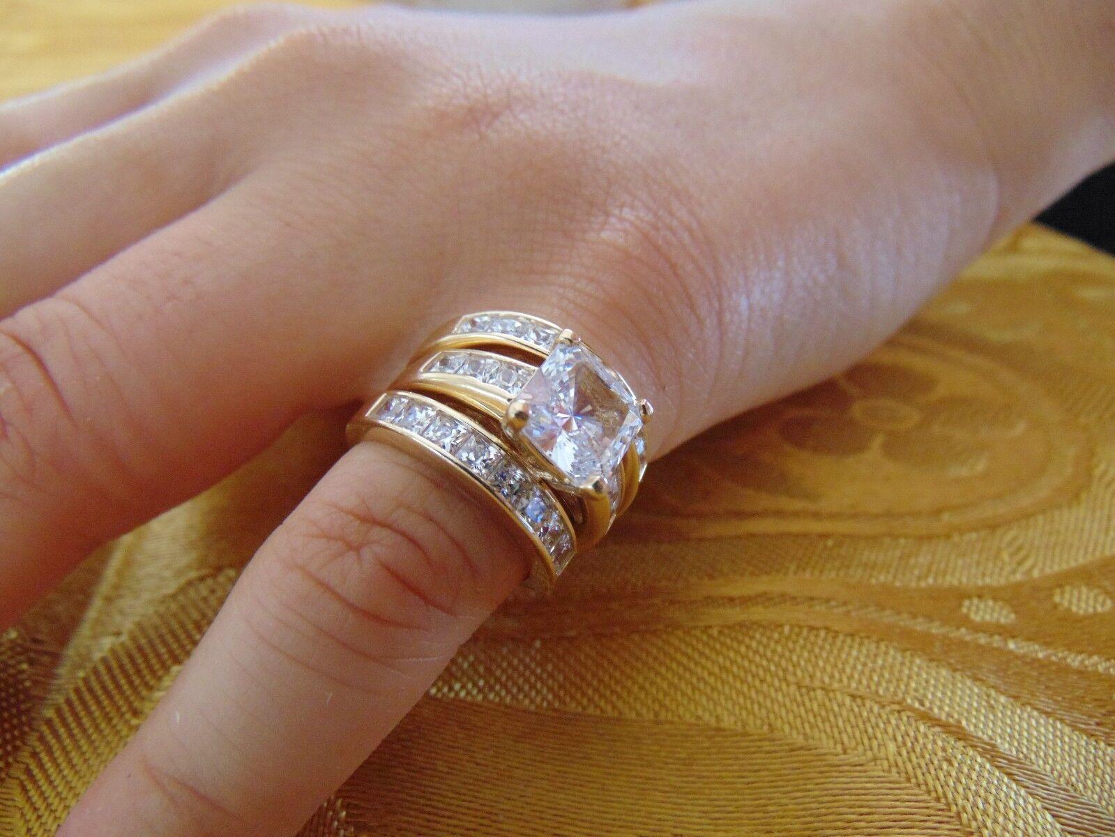 14k 3 50 Ct Princess Cut Yellow Gold Man Made Diamond Engagement Ring 3 Piece Ebay