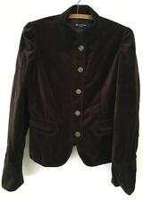 Massimo Dutti Brown Velvet Jacket sz M/L Metal Button Front
