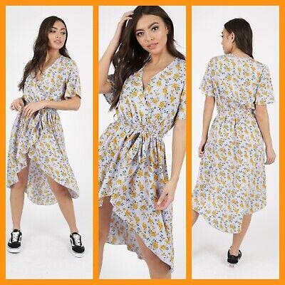 New Floral Breastfeeding Nursing Dress Dip Hem Wrap Dress Size 8 10 12 14